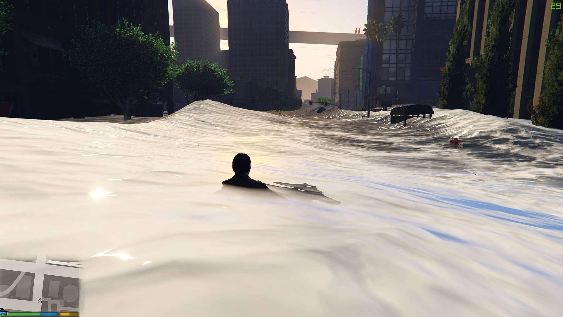 Mody do GTA V - tsunami w Los Santos.