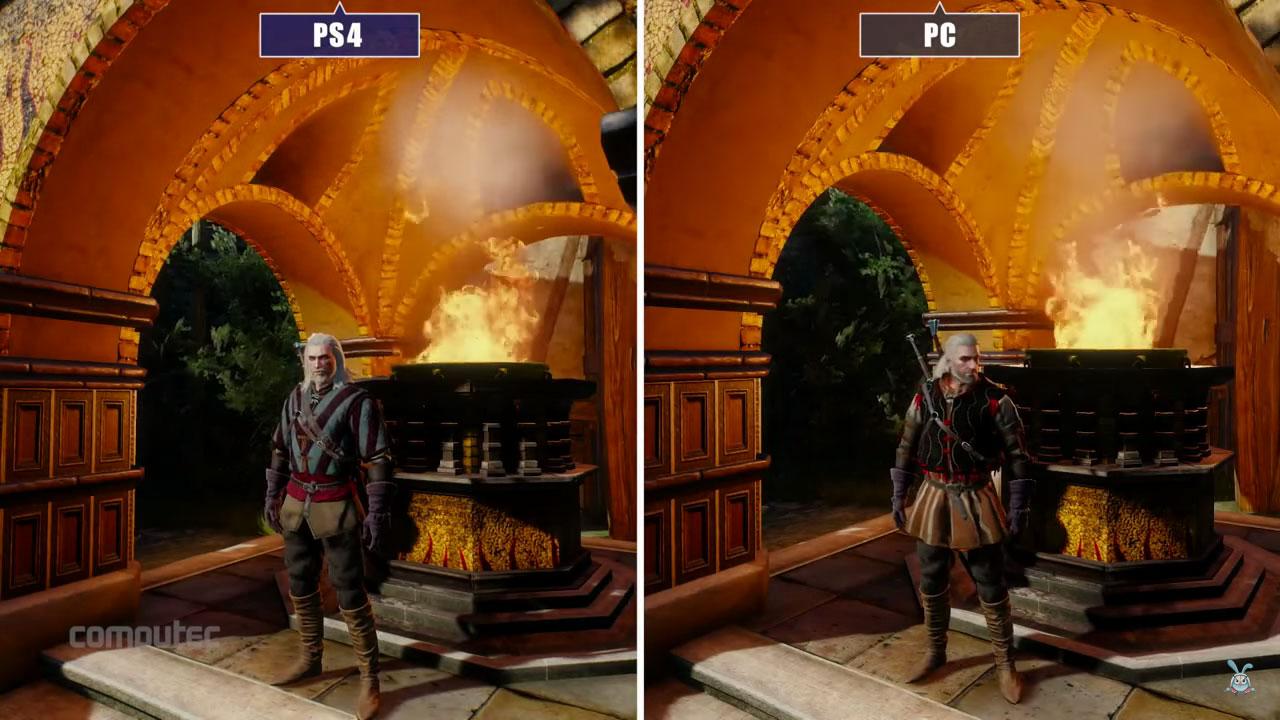 Wiedźmin 3 - PC vs PS4 (kadr z filmiku, który nie spodobał się CD Projekt RED).