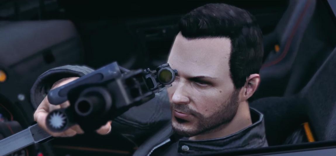 Kadr z teledysku stworzonego w świecie GTA V.
