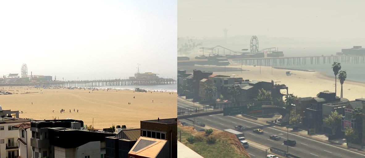 Santa Monica Pier widziany z pobliskiego wzgórza. Źródło: Stasiun.be