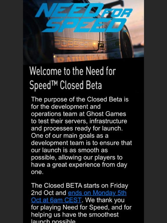 Beta Need for Speed