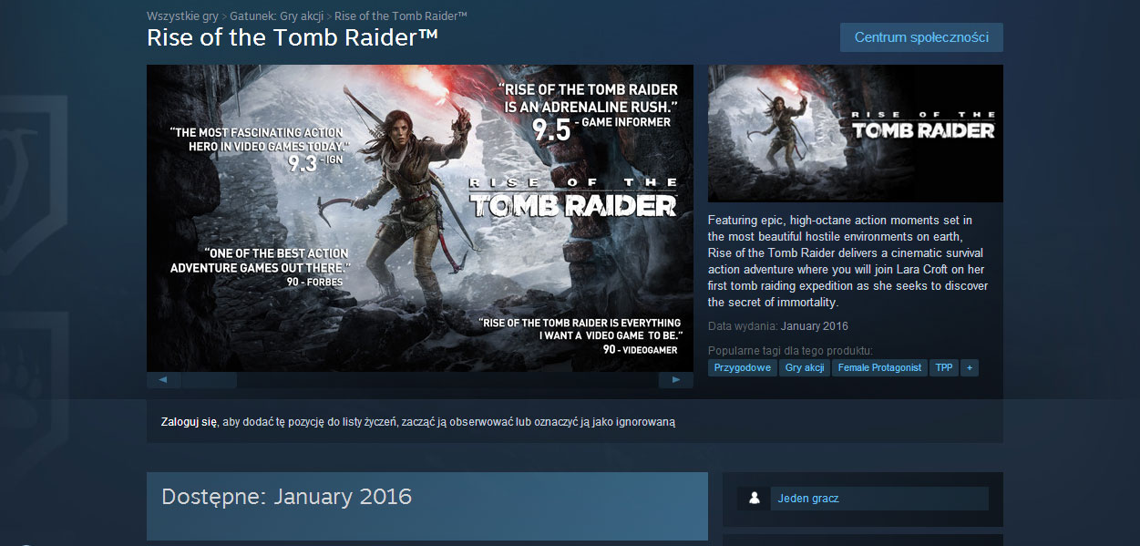 Premiera Rise of the Tomb Raider na PC