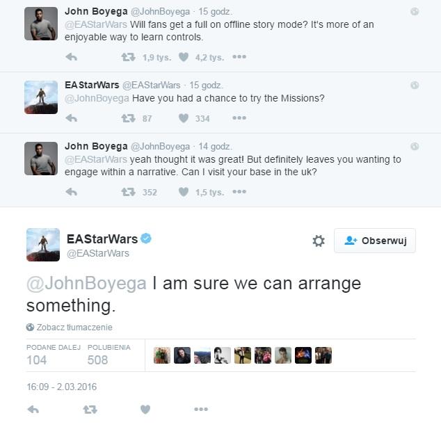 John Boyega i EA na Twitterze