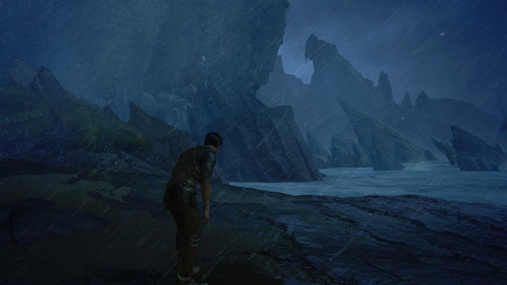 Skrajnie zmęczony i wyczerpany Nathan. Nawiązanie do Tomb Raidera?
