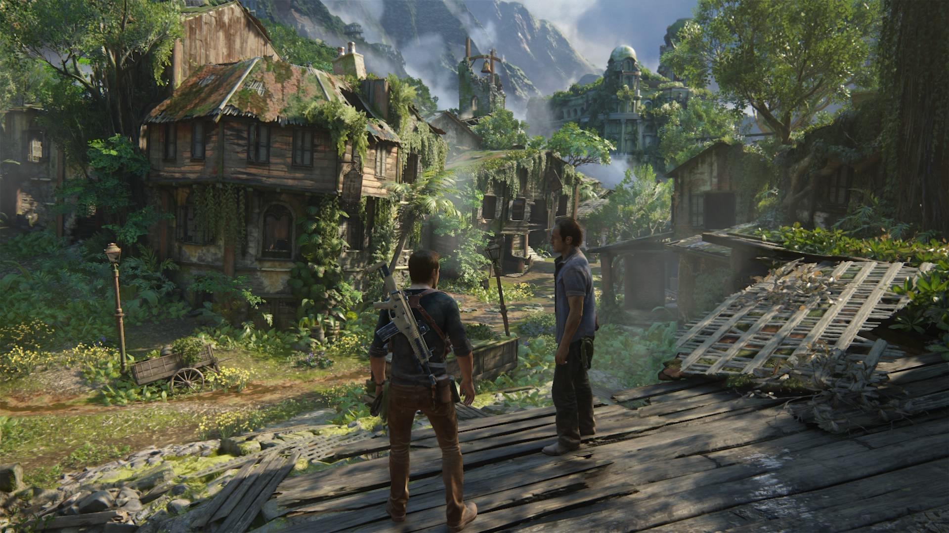 Nathan i Sam na tropie legendarnego skarbu. Taka sceneria to dobra okazja na pogaduszkę.