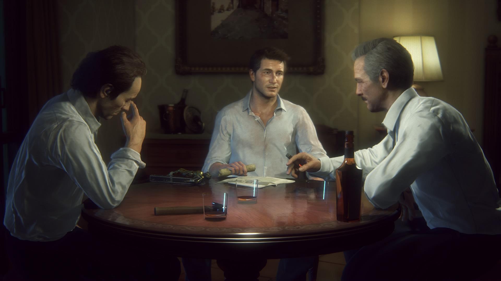 Przyjaciele przy stole. W Uncharted 4 relacje pomiędzy postaciami są bardzo ważne.