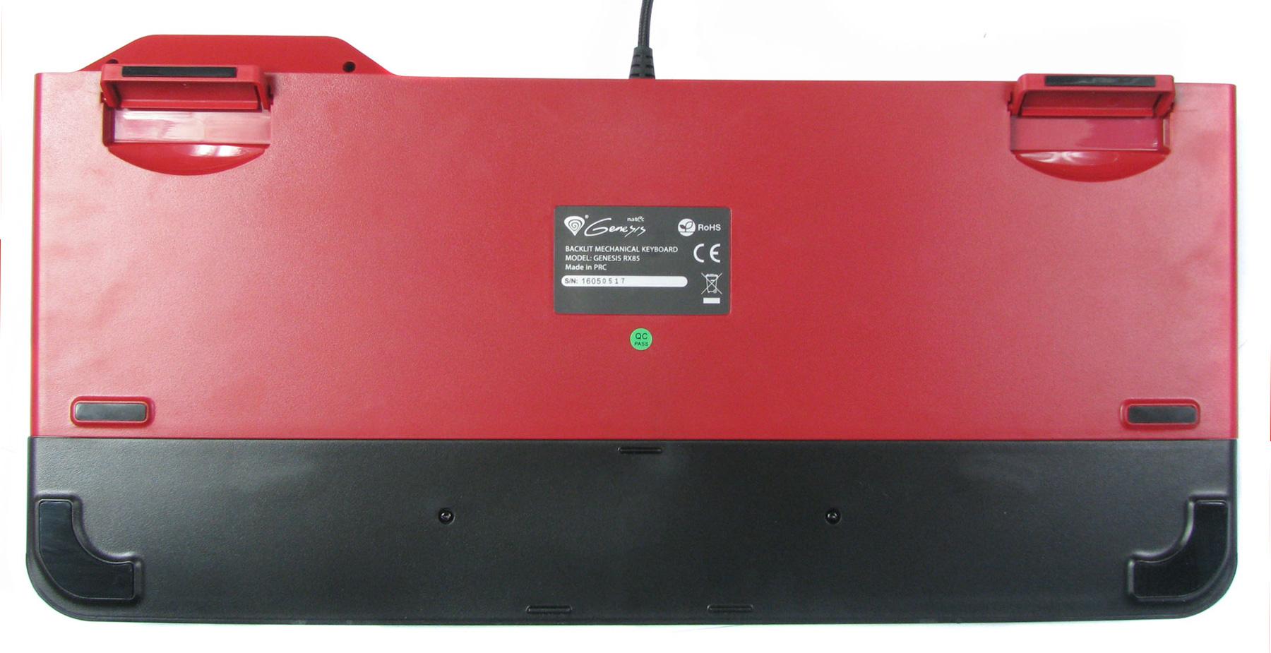 Natec Genesis RX85 - stabilność klawiatury zapewnia sześć elementów antypoślizgowych.