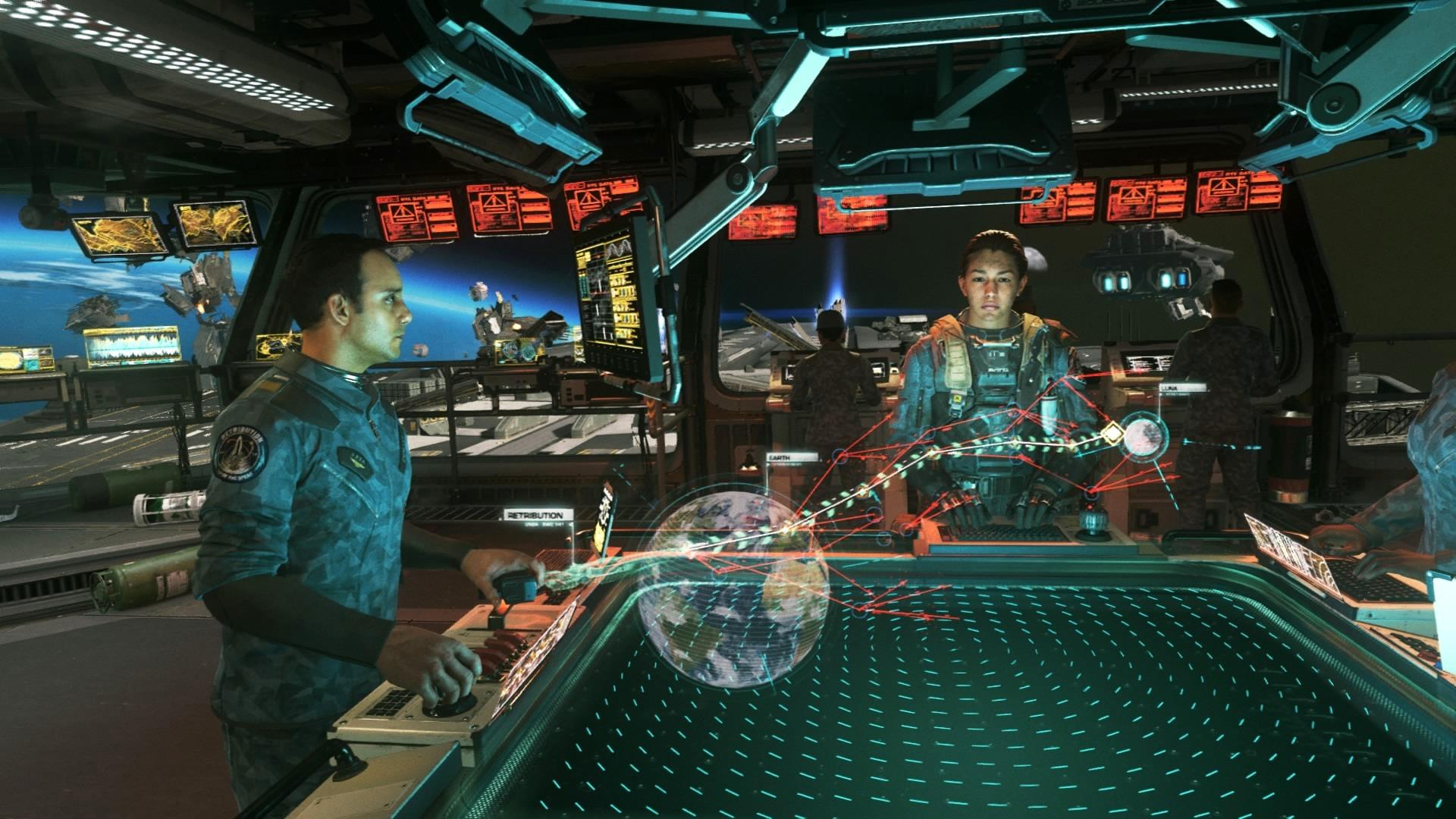 Załoga Retribution w trakcie planowania kolejnego zadania. Gracz nie musi już tylko wybierać misji głównych, są też i poboczne.