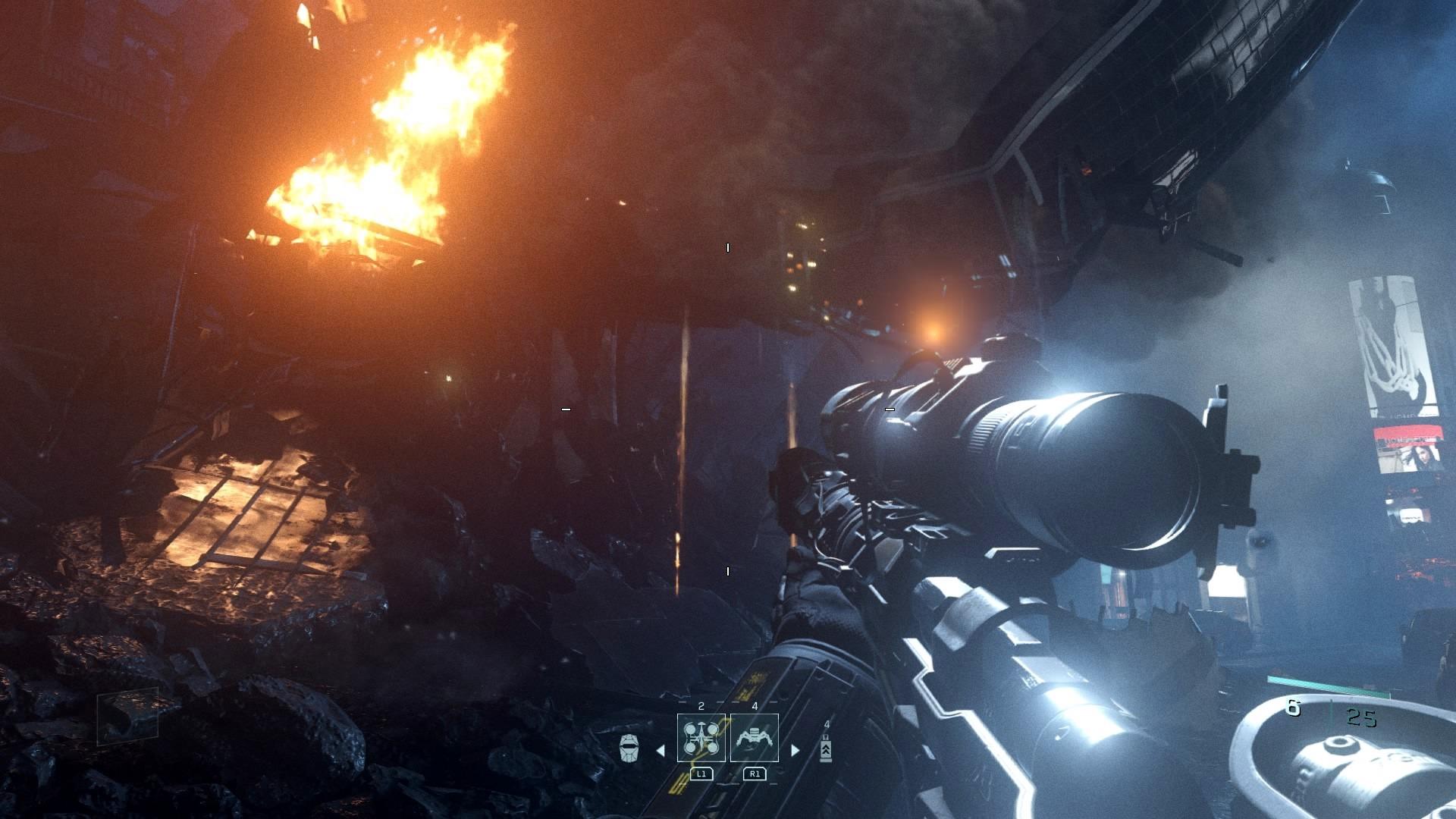 Zgliszcza i płonące budynki na Ziemi. Infinite Warfare to nie tylko zmagania w kosmosie.