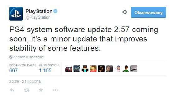 Aktualizacja PS4 2.57