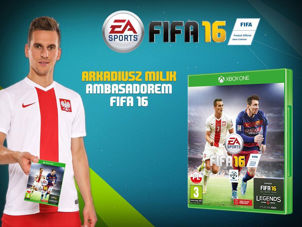 FIFA 16 - Arkadiusz Milik na polskiej okładce gry.