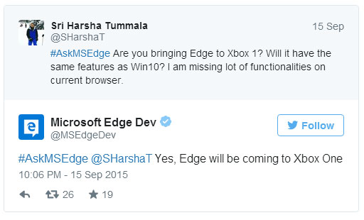 Edge trafi na Xboksa One