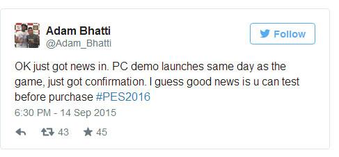 Demo PES 2016 również na PC