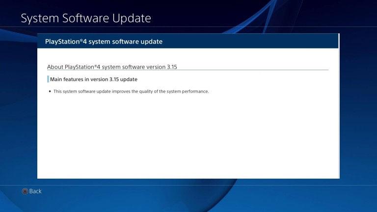 Aktualizacja PS4 3.15