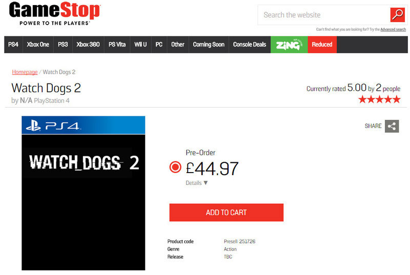 Watch Dogs 2 pre-order