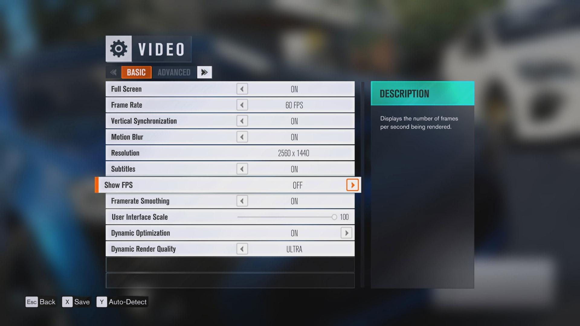 Forza Horizon 3 - podstawowe opcje graficzne.