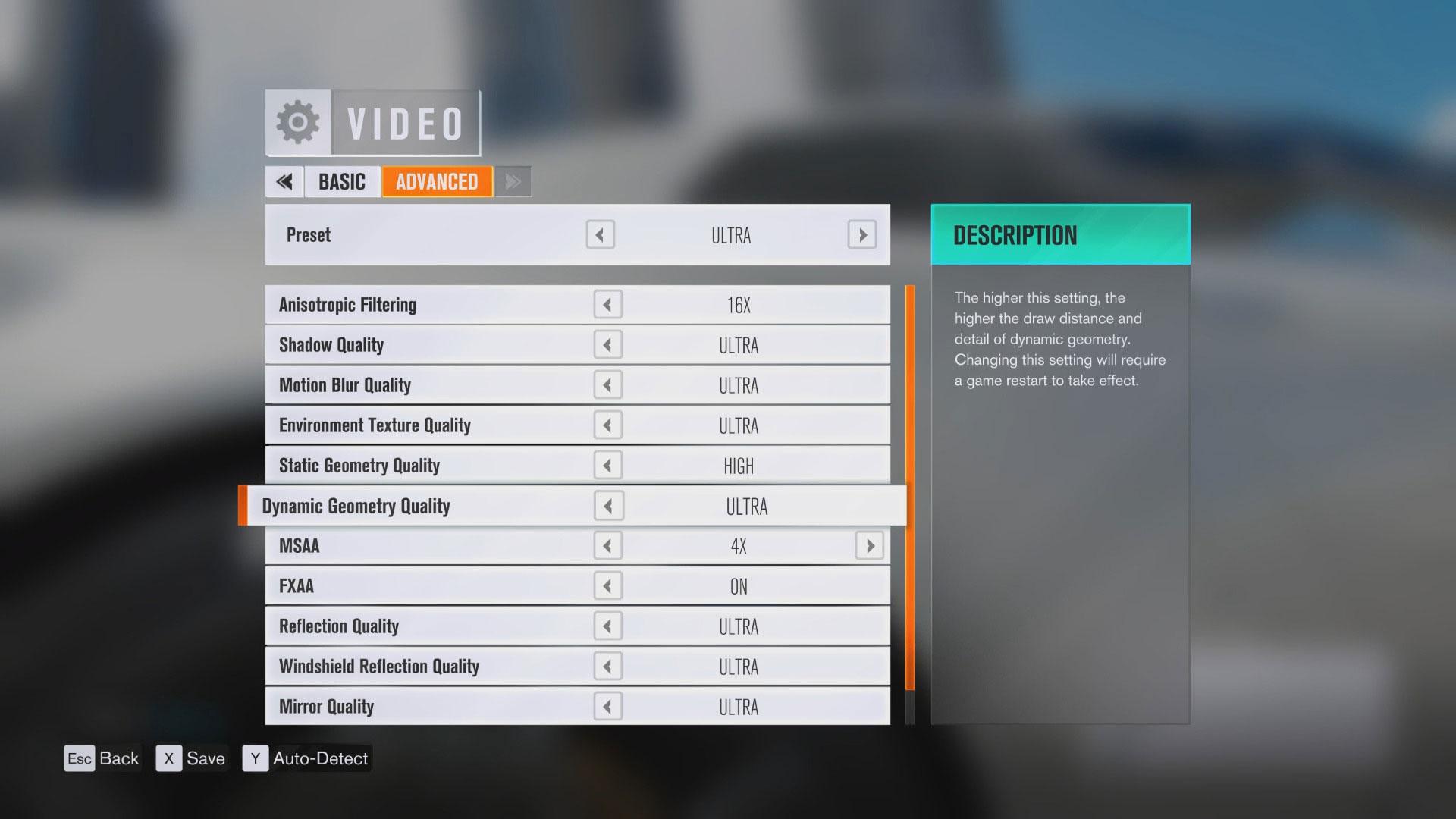 Forza Horizon 3 - zaawansowane opcje graficzne.