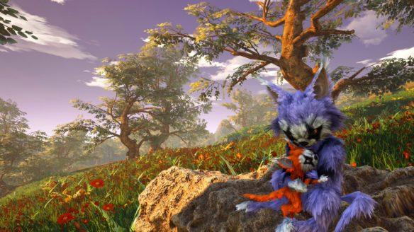 Biomutant - dwie postaci z gry siedzące na kamieniu