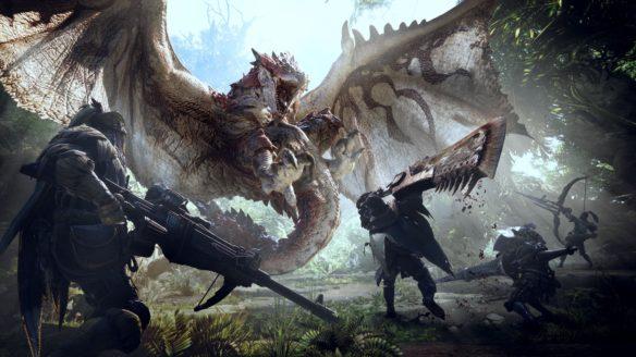 Kadr z gry Monster Hunter World przedstawiający walkę ze smokiem