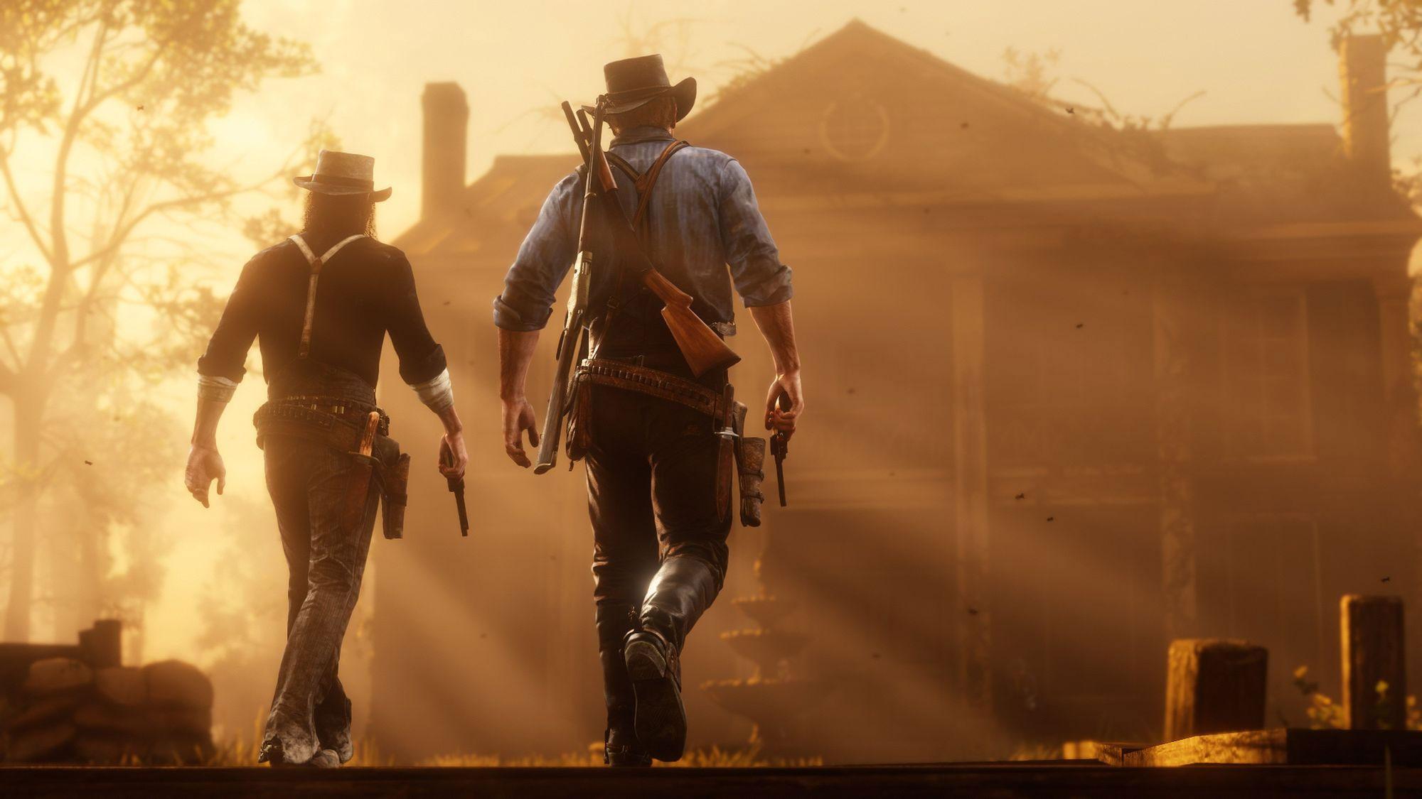 Dwójka bohaterów z Red Dead Redemption na tle promieni słońca