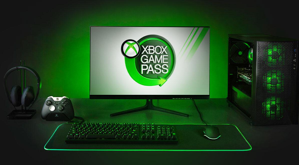 Xbox Game Pass - logo na monitorze