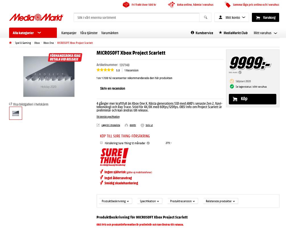 Xbox Scarlett w Media Markt  Cena za pre-order w szwedzkim oddziale