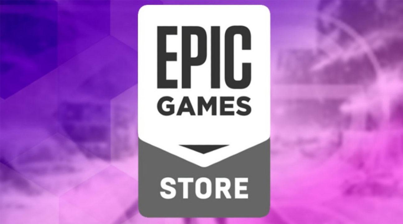 epic games store - darmowe gry - logo sklepu na fioletowo różowym tle