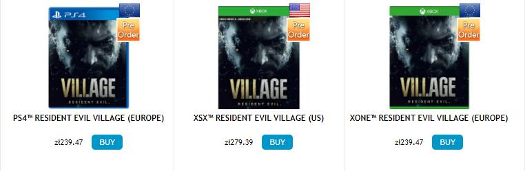 Resident Evil Village ceny PG