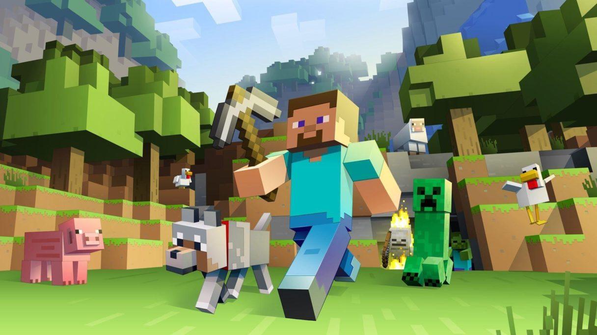 Minecraft - Steve z wilkiem idzie przez świat, w tle inne moby