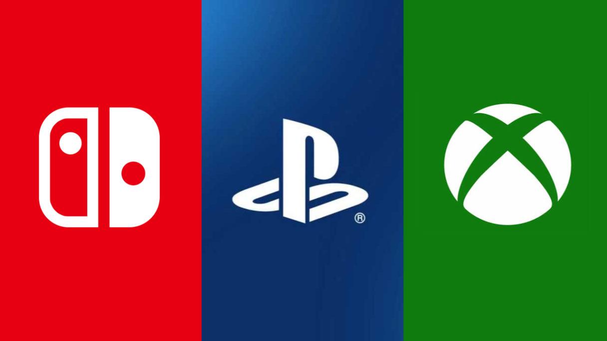 Sprzedaż konsol - PS5, Nintendo, Xbox - loga firm
