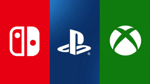 Sprzedaż konsol - PlayStation, Nintendo, Xbox - loga firm