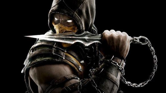 Scorpion z Mortal Kombat trzymający nóż na łańcuchu