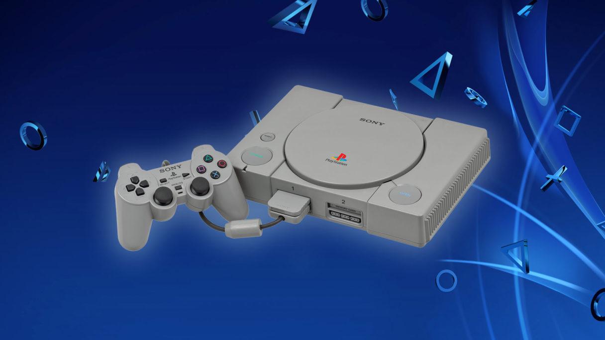 PS1 - konsola na tle PlayStation