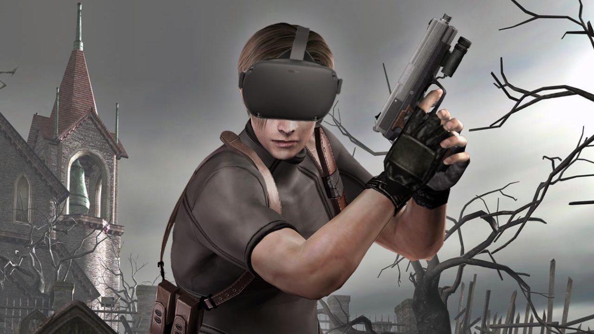 Resident Evil 4 - Leon z goglami VR na głowie