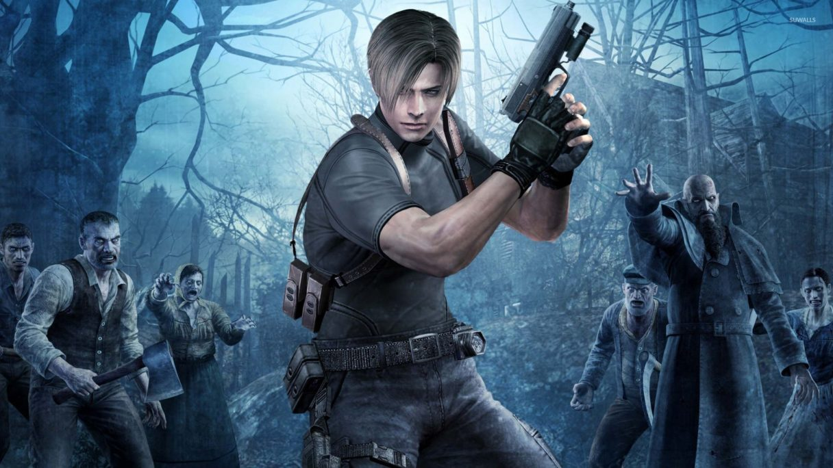 Leon S. Kennedy z pistoletem w ręce z Resident Evil 4