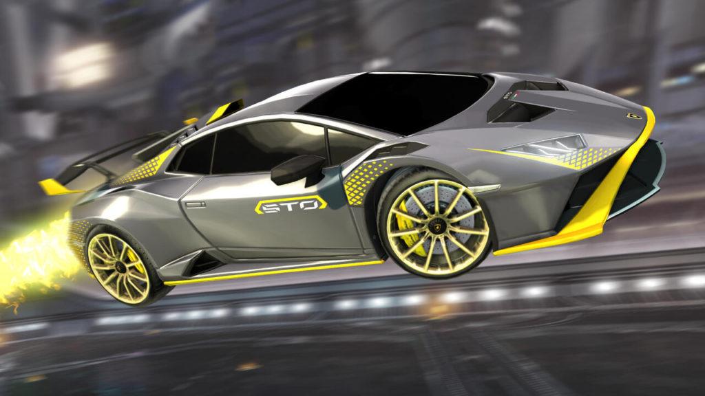 Srebrno żółty motyw skórki Lamborghini w Rocket League
