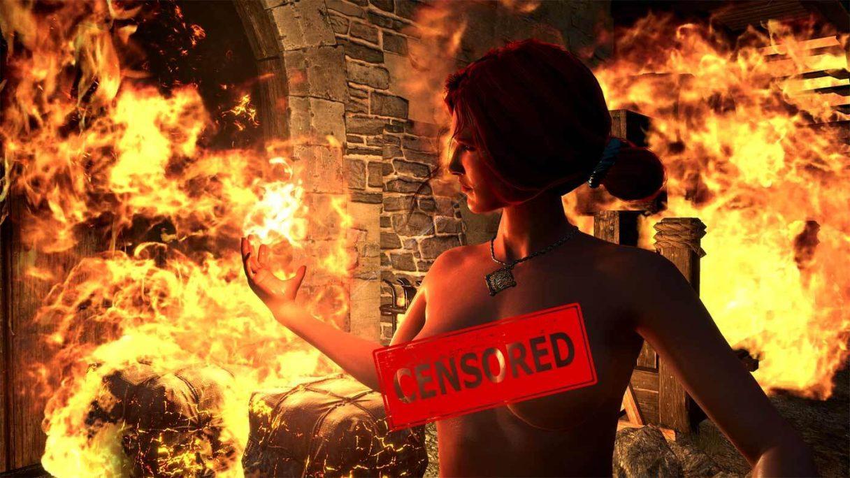 Ocenzurowana naga Triss z gry Wiedźmin 3