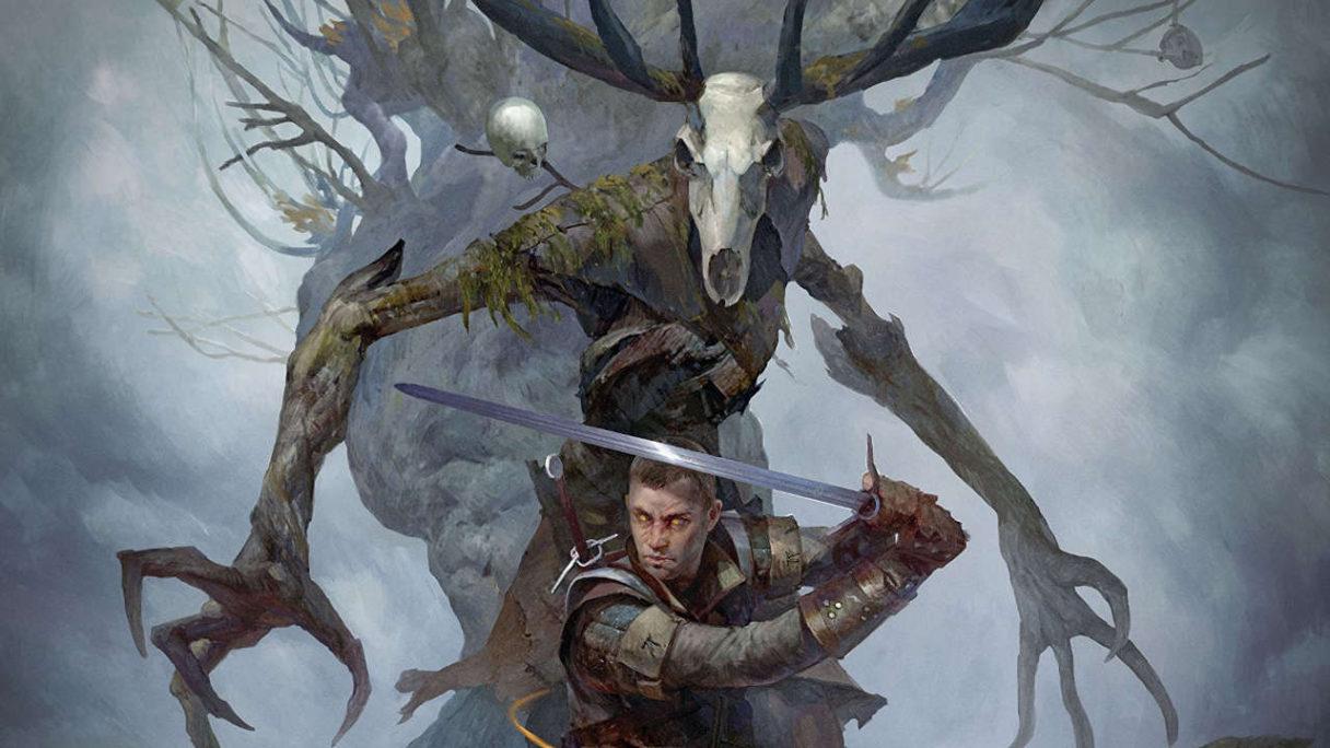 Wiedźmin: Stary Świat - fragment okładki przedstawiający Wiedźmina z mieczem i Leszego w tle