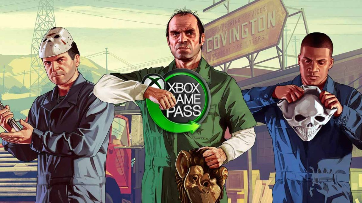 Xbox Game Pass - Trevor z GTA V trzyma logo