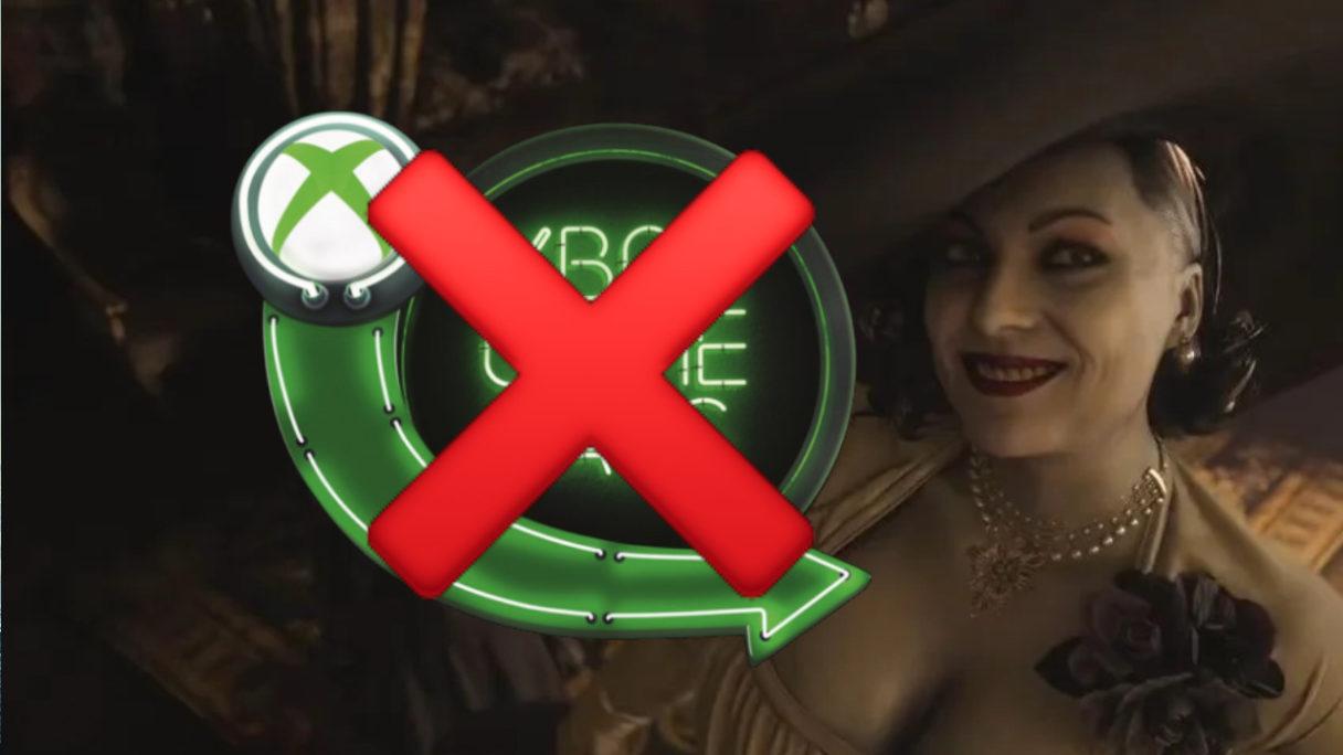 Przekreślone logo Xbox Game Pass z powodu braku w abonamencie Resident Evil Village przez Sony