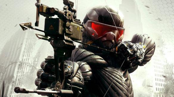 Crysis 3 - główny bohater gry naciąga cięciwę łuku