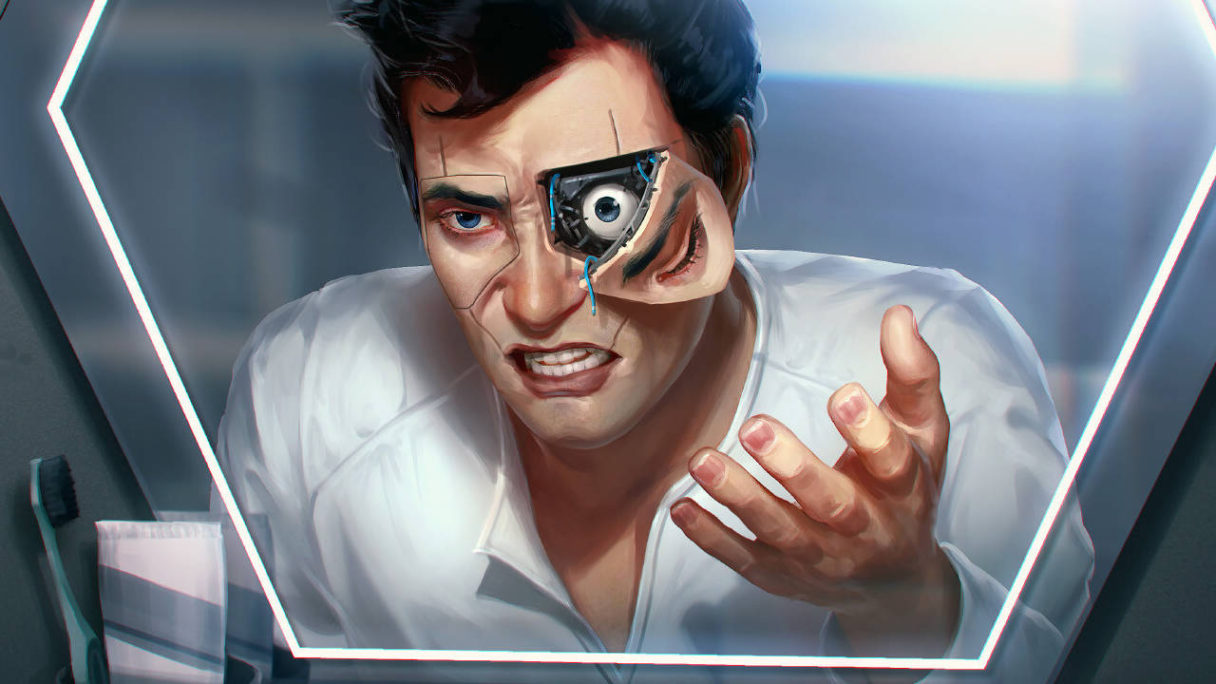 Cyberpunk 2077 - grafika z gry stworzonej przez CD Projekt RED, przedstawia mężczyznę z wyciągniętą częścią implantu oka