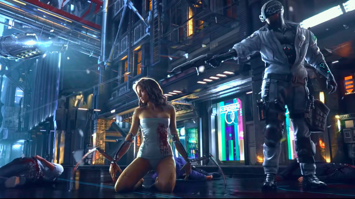 Cyberpunk 2077 - kobieta ze wszczepami leży na ulicy przed ewentualną śmiercią