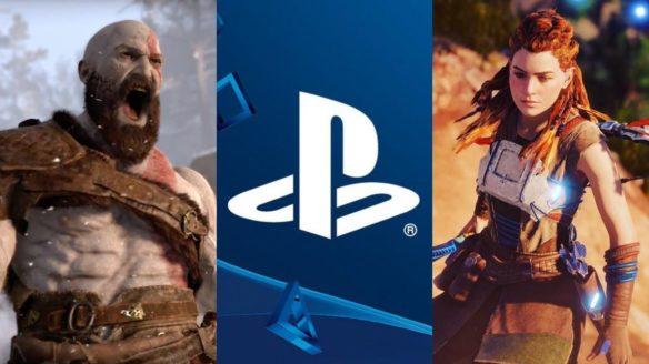 DoGRYwka - krzyczący Kratos, logo PlayStation i Aloy z Horizon Forbidden West