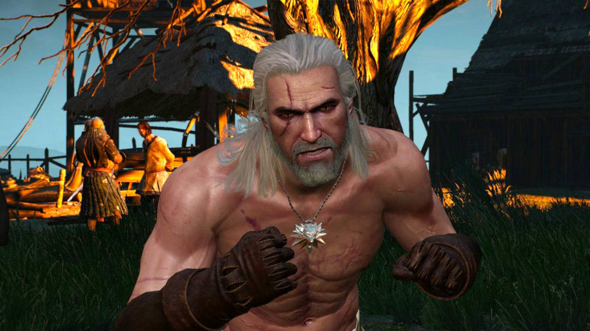 Geralt z gry Wiedźmin 3 ze wściekłą miną bez koszulki