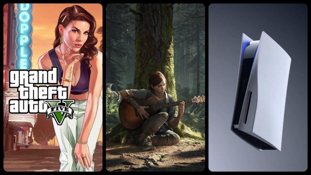 Logo GTA V, Ellie z The Last of Us 2 gra na gitarze, konsola PS5