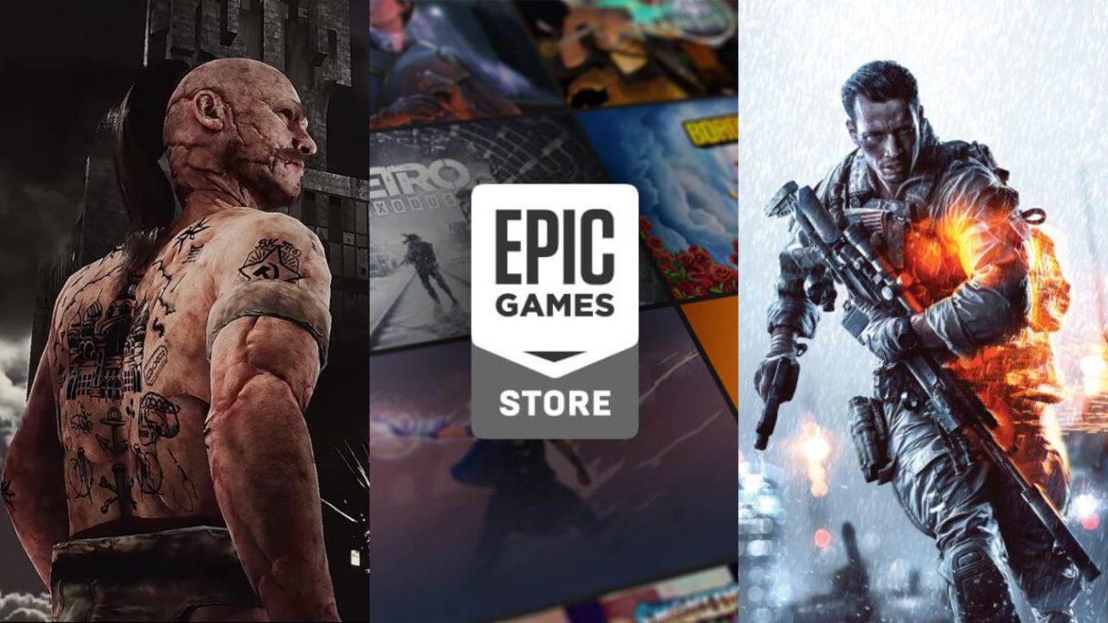 growe podsumowanie dnia - łysy mężczyzna z tatuażami z gry Pioner, logo epic games store i żołnierz z battlefield