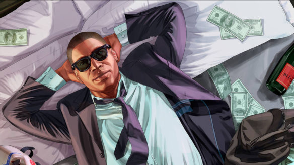 GTA V - Franklin leżący na pieniądzach