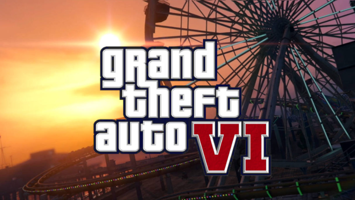 GTA VI logo na tle wesołego miasteczka