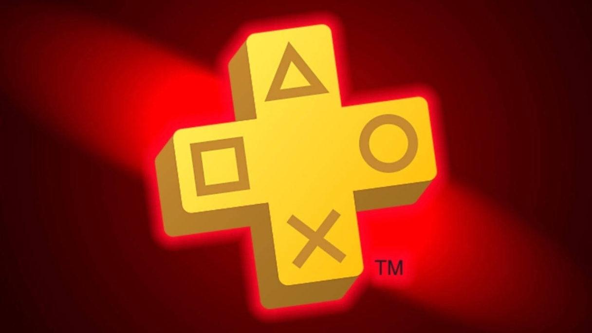 PS Plus logo na czerwonym tle